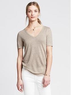 Banana-Republic - Linen Vee T-Shirt