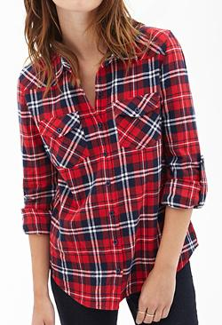 Forever 21 - Tartan Flannel Collared Shi
