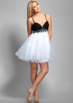 Dresses Prom 2014 - Tulle Black Beaded Waist Skirt Short White Prom Dress