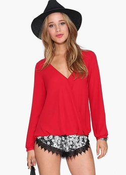 Romwe - V Neck Loose Red Blouse
