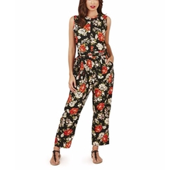 Pistachio - Ladies Printed Summer Vacation Full Length Jumpsuit
