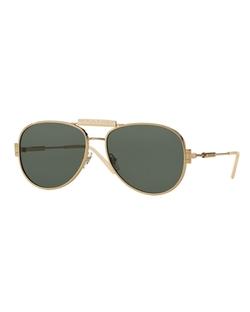 Versace  - Leather-Trim Monochromatic Aviator Sunglasses