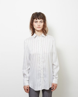 Maison Margiela Line 1 - Draped Back Pinstripe Shirt