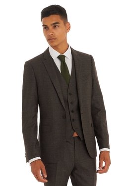 Moss London - Italian Cloth Brown Check 3 Piece Suit