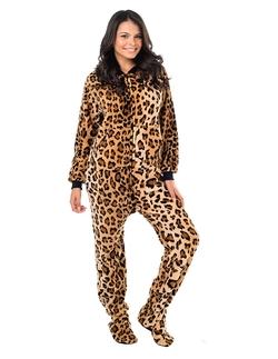 Footed Pajamas - Cheetah Spots Adult Chenille Pajamas