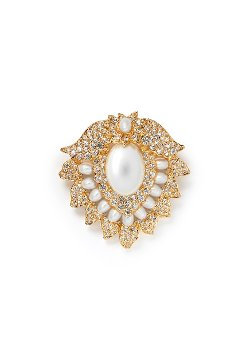 Kenneth Jay Lane  - Crystal Pearl Lotus Brooch