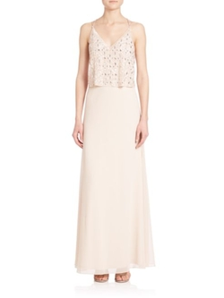 Aidan Mattox  - Beaded Popover Gown