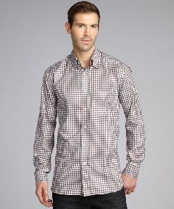 BRIONI  - Brown Plaid Cotton Concealed Button Down Collar Shirt