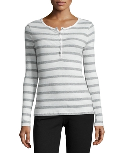 Anthony Thomas Melillo  - Long-Sleeve Striped Henley Top