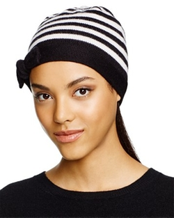 Kate Spade New York - Merino Wool Striped Beanie With Bow