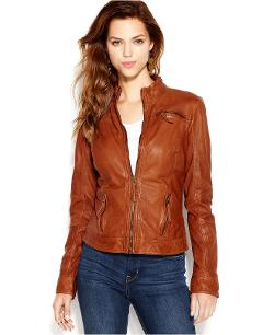 Lucky Brand  - Stand-Collar Leather Bomber Jacket