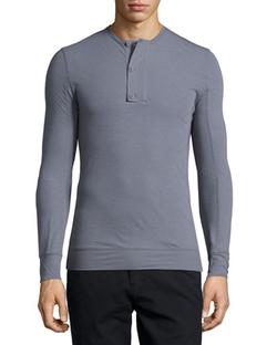 Helmut Lang  - Micro-Rib Long-Sleeve Henley Shirt