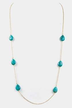 Karmas Canvas - Tear Drop Gem Stone Station Long Necklace