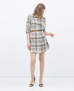 Zara - Check Dress With Belt