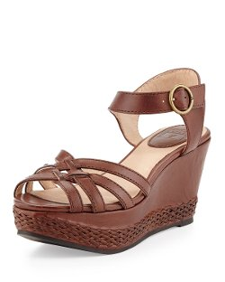 Frye   - Woven Leather Wedge Sandal