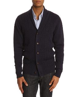 MENLOOK LABEL  - J7 Navy Cable-Knit Cardigan