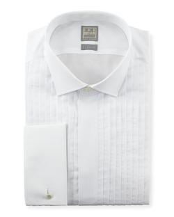 Ike Behar  - Pleated Fly-Front Tuxedo Shirt, White