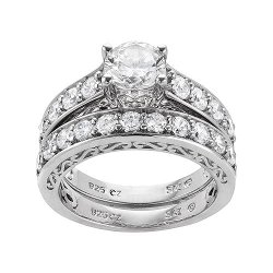 DiamonLuxe  - Sterling Silver Simulated Diamond Ring
