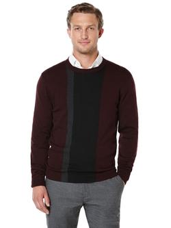 Perry Ellis International - Colorblock Stripe Crewneck Sweater