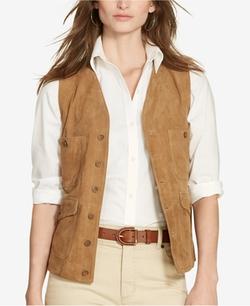Lauren Ralph Lauren  - Suede Button-Front Vest