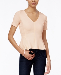 Bar III  - Short-Sleeve Peplum Top