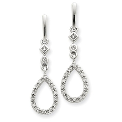 CharmsToTreasure Earrings - White Gold Diamond Teardrop Earrings
