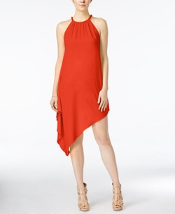 Xoxo - Braided-Trim Asymmetrical-Hem Shift Dress