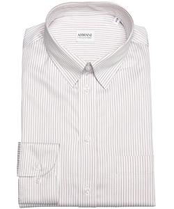 Armani - Striped Cotton Point Collar Dress Shirt