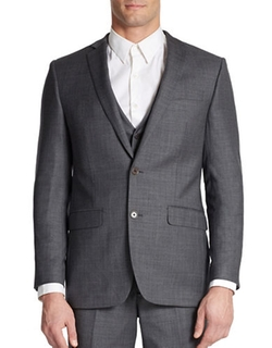 Tallia Orange  - Slim Fit Two-Button Woven Wool Blazer