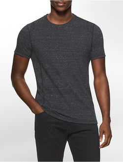 Calvin Klein - Slim Fit Cotton Blend Crewneck Heathered Shirt