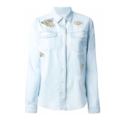 Roberto Cavalli - Embroidered Details Denim Shirt