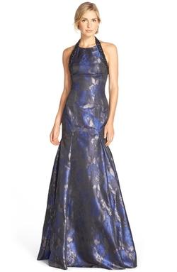 Pamella, Pamella Roland - Embellished Metallic Jacquard Trumpet Gown