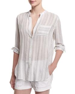 Vince  - Striped Split-Neck Button-Down Shirt