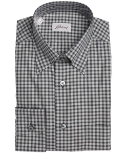 Brioni - Gingham Button Down Collar Dress Shirt