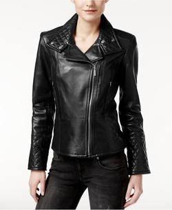 Calvin Klein  - Leather Quilted Moto Jacket