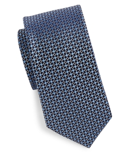 Black Brown 1826  - Diamond Patterned Silk Tie