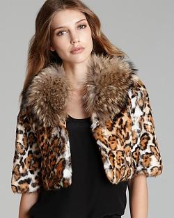 Adrienne Landau - Leopard-Print Rabbit Fur Jacket with Raccoon Collar