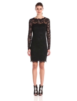 Nicole Miller  - Corded Floral Lace Long Sleeve Dress