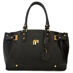 MG Collection  - Lucca Glamour Padlock Shopper Zipper Hobo Bag