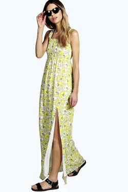 Boohoo - Vita Chiffon Floral Print Square Neck Maxi Dress