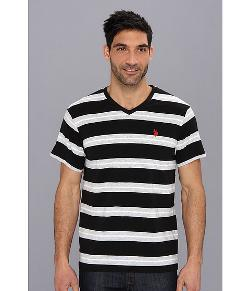 U.S. Polo Assn  - Tricolor Stripe V-Neck T-Shirt