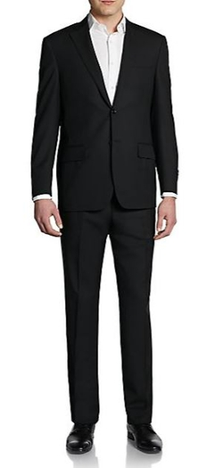 Saks Fifth Avenue Black  - Classic-Fit Wool Two-Button Suit