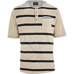 River Island - Beige Striped Holloway Road Grandad T Shirt