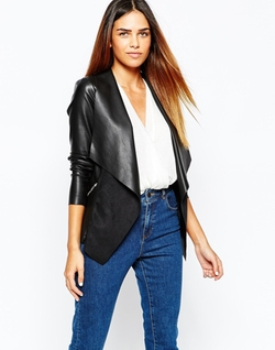 Warehouse - Zip Detail Waterfall Drape Jacket