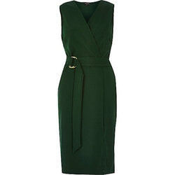 River Island - Dark Green D-Ring Belted Wrap Dress