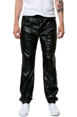 Square Zero - Faux Leather Drop Crotch Jogger Fit Pants