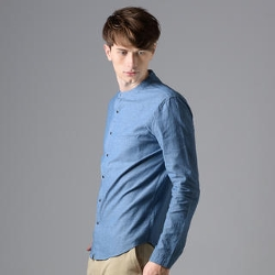 YesStyle - Mandarin-Collar Snap-Button Denim Shirt