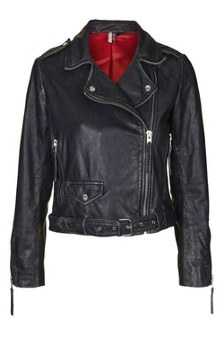 Topshop - Distressed Belted Leather Jacket
