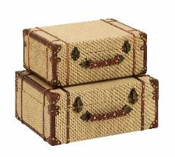 Old Look  - Burlap Travel Suitcase Set