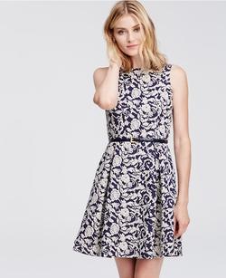 Ann Taylor - Contrast Floral Jacquard Dress